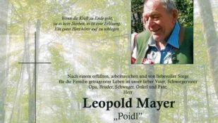 Ableben von Leopold Mayer am 2.2.2021